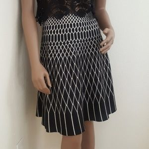 Roz & Ali Circle skirt Black creme printed medium